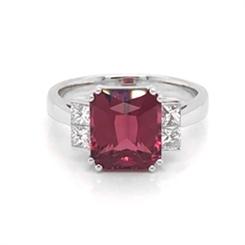Pink Tourmaline Octagon & Princess Cut Diamond Dress Ring 3.98ct