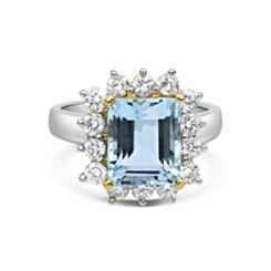 Aquamarine Octagon & Diamond Cluster Cocktail Ring
