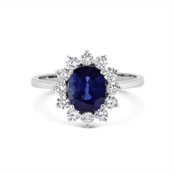 Sapphire & Diamond Cluster Engagement Ring 2.05ct