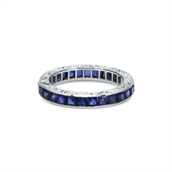 Carre Cut Sapphire Channel Set Engraved Full Eternity Ring