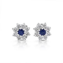 Sapphire & Diamond Floral Cluster Stud Earrings 0.73ct