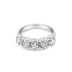 Scalloped Five Stone Brilliant Cut Claw Ring 2.03ct