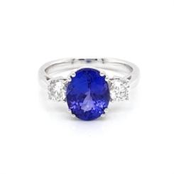 Oval Tanzanite & Diamond Three Stone Dress Ring 2.86ct