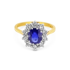 Sapphire & Diamond Oval Cluster Engagement Ring 2.60ct