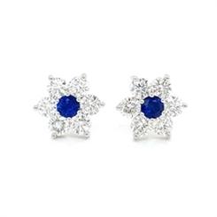 Floral Sapphire & Diamond Cluster Studs 0.40ct