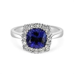Claw Set Tanzanite & Diamond Cluster Dres Ring 2.45ct