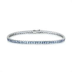 Aquamarine Princess Cut Line Bracelet 6.57ct