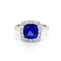 Tanzanite Cushion Cut & Diamond Claw Set Cluster Dress Ring 2.13ct