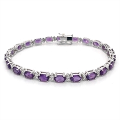 Amethyst Oval & Diamond Claw Set Bracelet 10.55ct