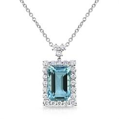 Aqua & Diamond Cluster Pendant 10.02ct