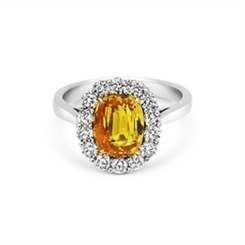 Yellow Sapphire Oval & Diamond Cluster Ring 3.30ct