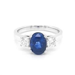 Sapphire Oval Diamond Three Stone Engagement Ring 2.82ct