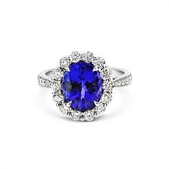 Oval Tanzanite & Diamond Cluster Diamond Set Shoulders 3.56ct