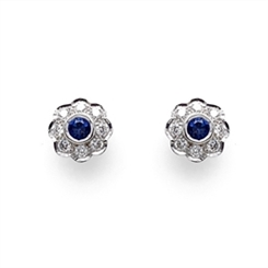 Sapphire & Diamond Rub-Over Set Cluster Studs 0.34ct