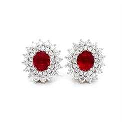 Ruby & Diamond Double Cluster Stud Earrings 1.61ct