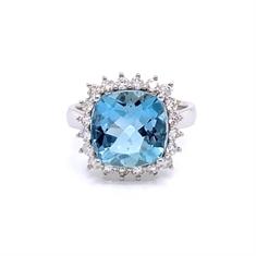 Facetted Cushion Cut Aqua & Diamond Cluster Ring 4.11ct