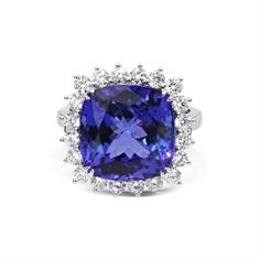 Tanzanite Square Cushion & Diamond Claw Set Cluster Ring 11.52ct