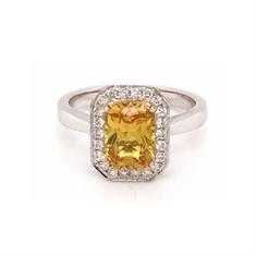 Yellow Sapphire Grain Set Diamond Octagon Cluster Ring 2.28ct
