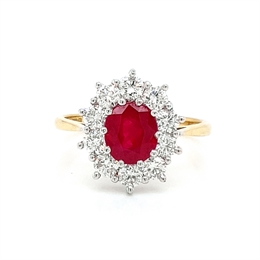 Ruby Oval & Diamond Claw Set Cluster Engagement Ring 1.97ct