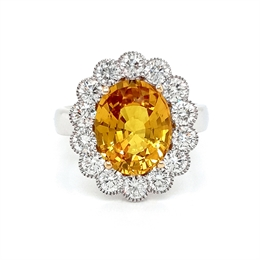Yellow Sapphire & Diamond Vintage Style Cluster Ring 2.20ct
