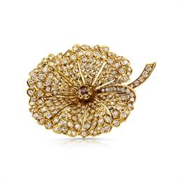 Cognac Diamond Leaf Brooch 4ct Est