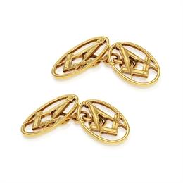 Oval Masonic 9ct Yellow Gold Cufflinks