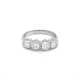 Four Stone Scalloped Diamond Half Eternity Ring 1.60ct