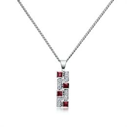 Ruby & Brilliant Cut Diamond Mosaic Pendant 0.38ct
