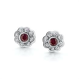 Ruby & Diamond Rub-Over Set Cluster Earrings 0.35ct