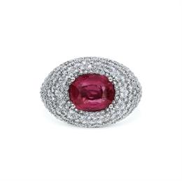 Ruby & Diamond Pave Set Bombe Ring 3.60ct