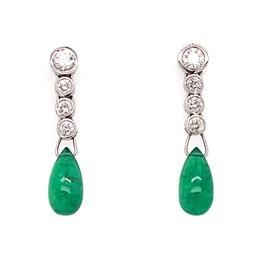 Emerald & Diamond Drop Earrings 3.22ct