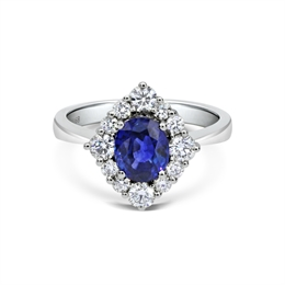 Oval Sapphire & Diamond Cluster Ring 1.68ct