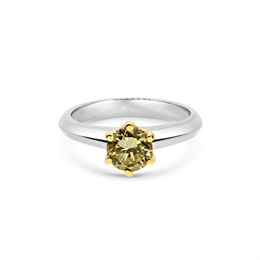 Fancy Yellow Diamond Solitaire Engagement Ring 0.91ct