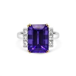 Tanzanite & Princess Cut Diamond Dress Ring 8.19ct