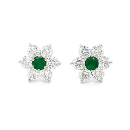 Floral Emerald & Diamond Claw Set Cluster Earrings 0.38ct