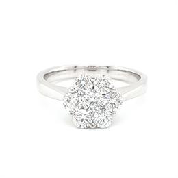 Diamond Daisy Cluster Engagement Ring 1.01ct