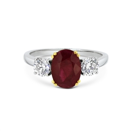 Ruby Oval & Diamond Three Stone Ring 2.23ct