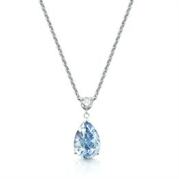 Aqua Pear Shape & Diamond Drop Pendant 3.42ct