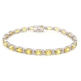 Yellow Sapphire Oval & Diamond Line Bracelet  14.40ct