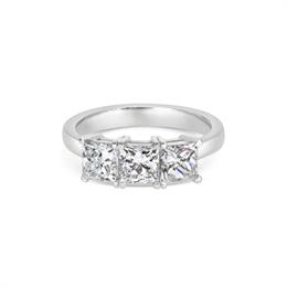 Princess Cut Three Stone Engagement Ring 2.13ct