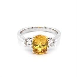 Yellow Sapphire Oval Diamond Three Stone Ring 2.65ct