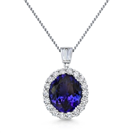 Tanzanite Oval Cluster Pendant With Tapered Baguette Diamonds 8.23ct