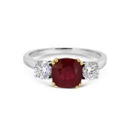 Ruby Cushion Cut & Brilliant Cut Diamond Three Stone Ring 3.01ct