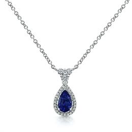 Sapphire Pear Shape & Diamond Cluster Drop Pendant 1.98ct