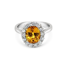 Yellow Sapphire & Diamond Claw Set Cluster Ring 3.45ct