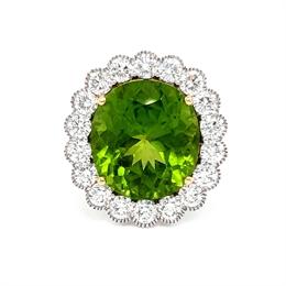 Vintage Style Peridot & Diamond Cluster Ring 9.46ct