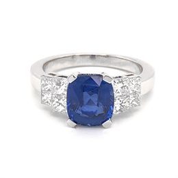 Sapphire & Princess Cut Diamond Engagement Ring 3.30ct