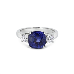 Cushion Cut Sapphire & Diamond Claw Set Three Stone 4.22ct