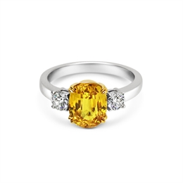 Yellow Sapphire Oval & Diamond Three Stone Ring 3.85ct