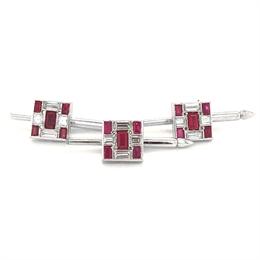 Van Cleef & Arpels Deco Style Ruby & Diamond Button Set